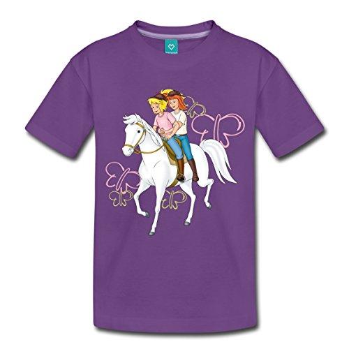 Spreadshirt Bibi und Tina Reiten auf Stute Sabrina Kinder Premium T-Shirt, 98/104 (2 Jahre), Lila (Einheitliche T-shirt Lila)
