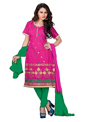 Vibes Women's Chanderi Cotton Unstitched Dress Materials (V309-1004_Pink)