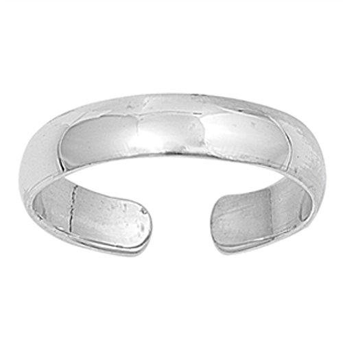 7K Zehenring aus 925 Sterling Silber als Fußschmuck für Damen, Herren und Mädchen, Größenverstellbar, Breite 4mm, Modell 9