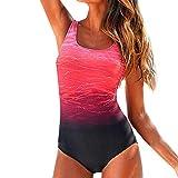 YEBIRAL Badeanzug Damen Bauchweg Figurformend Push up Große Größen Sportlich Beachwear Bademode Strandmode Einteiler Figuroptimizer Sport Badeanzug (XXXL,Rot)