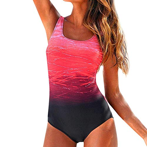 YEBIRAL Badeanzug Damen Bauchweg Figurformend Push up Große Größen Sportlich Beachwear Bademode Strandmode Einteiler Figuroptimizer Sport Badeanzug (XXL,Rot)