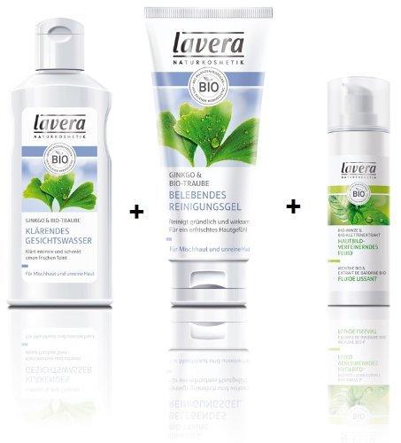 Lavera klärendes Gesichtswasser 125 ml + belebendes Reinigungsgel 100 ml + Fluid Minze für unreine Haut 30 ml im Set für strahlende Haut