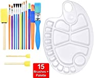 15PCS Colorful Kids Paint Brush & palette Set, Childrens Paint Brushes Starter kit for Watercolor, Oil, Ac