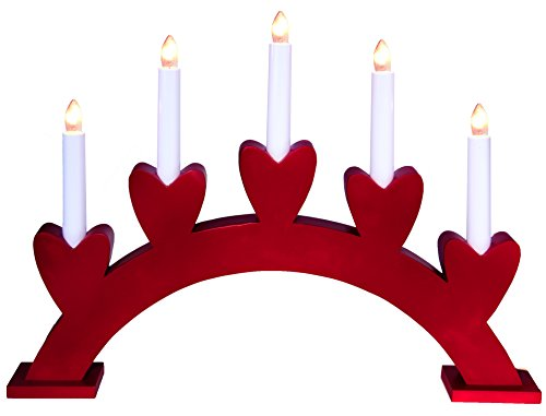 Star madera 5-Light Annie-5 candelabro, rojo