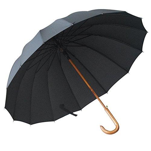 HAN-NMC Schirm gegen Wind Doppel Regenschirm 115 Cm, Schwarz