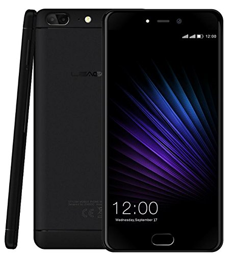 Leagoo T5 - 5,5 Zoll FHD Android 7.0 4G Smartphone, Ultra dünn (7.9mm) Triple Kameras (13MP + 5MP + 13MP), Octa Core 1.5GHz 4GB RAM 64GB ROM, Premium Metall Uni-Body - Schwarz - Prepaid-handy-chip