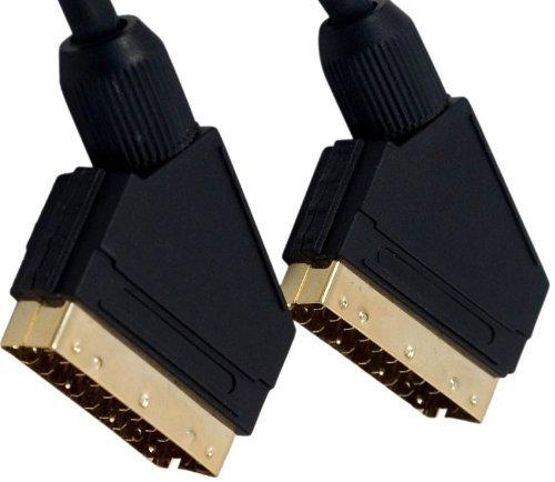3m Scart Kabel - Professionelle Qualität - 24 Karat Vergoldet - Voll verkabelt 21-polig Scart - Audio & Video-Kabel - Männlich zu Männlich - Abgeschirmt