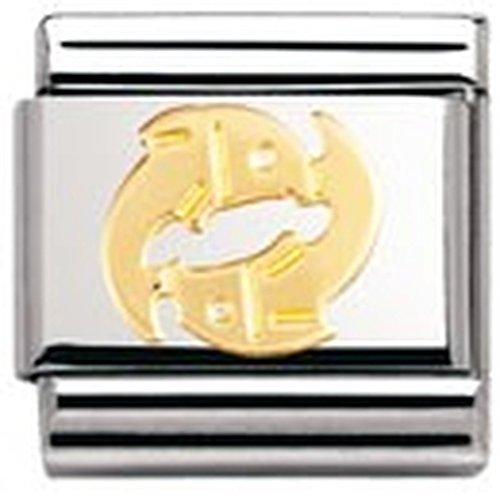 Nomination – 030104 – Maillon pour bracelet composable Mixte – Signe astrologique – Poisson – Acier inoxydable et Or jaune 18 cts