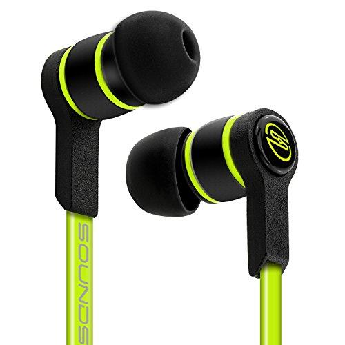 deleyCON SOUNDSTERS S18 Auriculares - Conexión Jack de 3,5mm - Conector en Ángulo de 90° Audio Potentes Notas Graves Cable Plano TPE - Verde