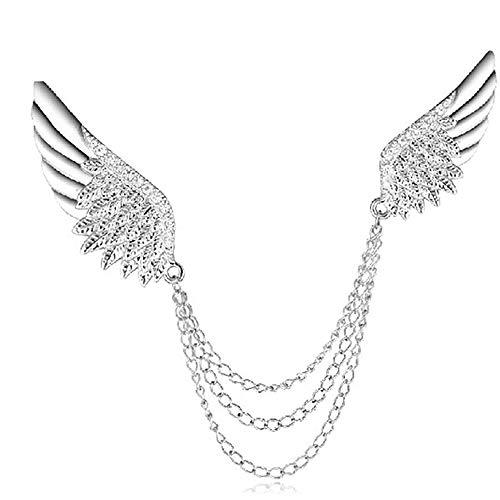 OOFAY Angel Wings Diamond Personality Männliche Brosche Elektrisch Vergoldete Tassel Kragen Pin Legierung Kette Kostüm-Accessoires ()