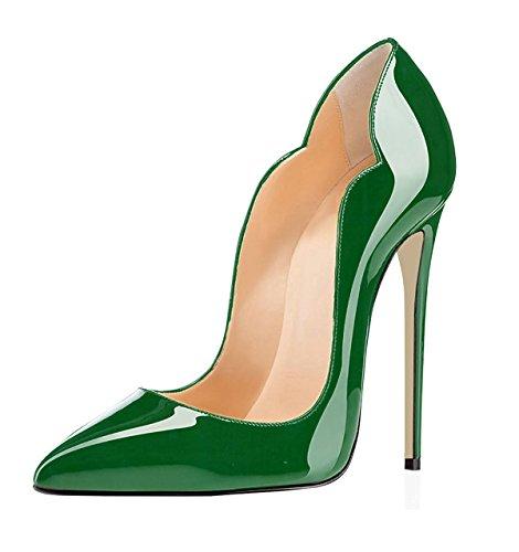 EDEFS Damen Spitze Zehe Schuhe 120mm High Heel Pumps Hohen Absätzen  Geschlossen Abendschuhe Lack Grun ee3d740ebf