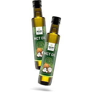 WoldoHealth MCT Öl in Glasflasche Geschmacksneutral geeignet für Bulletproof Coffee C8 und C10 250ml