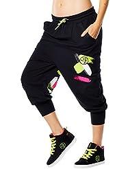Zumba Fitness Da Funk Baggy Capris - Pantalón corto para mujer, color negro, talla L
