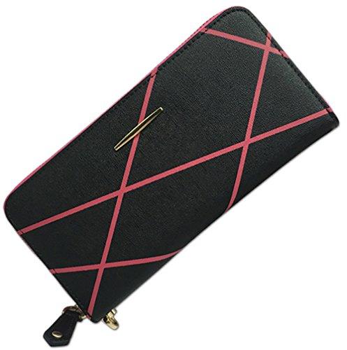 Xinmaoyuan Portafogli donna Portafogli donna Leisure Zipper sacco Stampa borsa a mano Borsa multifunzionale,Nero Nero