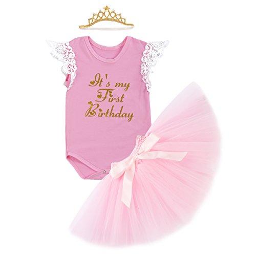 Baby Mädchen 1. Geburtstag Tutu Kleid Set Romper + Rock Tütü Pettiskirt Pumphose + Krone Stirnband Geschenk Säuglings Prinzessin 3 Stück Outfits Verkleidung Fotoshooting Kostüm (Minnie Maus Kostüme Kleinkind Rosa)