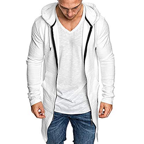 Felicove Männer Einfarbig Mantel Spleißen Kapuze Trenchcoat Jacke Strickjacke Langarm Outwear Bluse Sale -