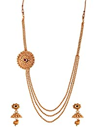 Ganapathy Gems Gold Plated Necklace Set With Side Mob And Layered Chain (9232)