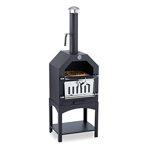 Klarstein Pizzaiolo Pizza Oven Grill Smoker (Multifunctional, Steel, Pizza Stone, Fuelled by Wood or Coal)