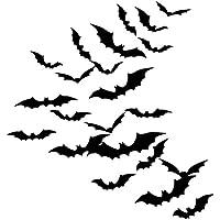 Sumind DIY 48 Pièces 3D Halloween Chauves-Souris Autocollants Accessoires Kit, Fournitures de Fête de Halloween pour Décoration Murale et Fenêtre de Maison