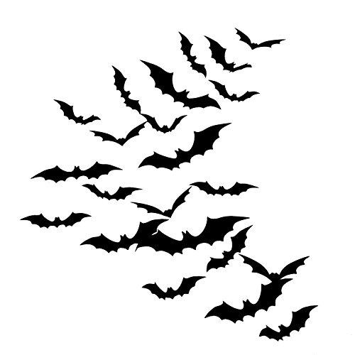 Sumind 48 Piezas de Murciélago 3D de DIY Kit de Accesorios de Halloween, Materiales de Fiesta de Halloween para Decoración de Hogar Ventana Pared