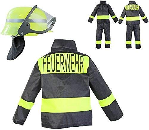 Nerd Clear Feuerwehr Kostüm Set für Kinder | 3-teilig: Helm, Jacke, Hose | ideal für Karneval & Fasching | Jungen & Mädchen |: Größe: 104-110 (Frau Kostüm Elvis)