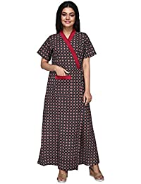 7c34ad389b6 Baby Doll 100% Pure Cotton House Coat Robe Gown Nighty for Women Ladies  Full Long, Front Open, with Belt Adjustable in Size X-Large XL…