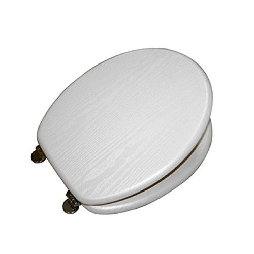 Carpemodo WC Deckel WC Sitz/Scharniere verchromt/Material Holz MDF/Edles und Modernes Design als Fotodruck/Farbe Weiß (glänzend)