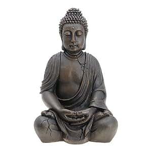 buddha figur statue sitzend indonesien antik stil 67cm. Black Bedroom Furniture Sets. Home Design Ideas