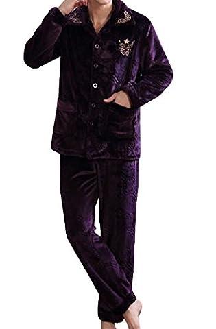 Männer Warmen Flanellpyjama Dick Jogginganzug Zwei Sätze,Purple-L