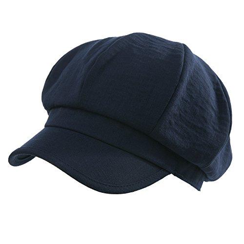 SIGGI Schirmmütze Barett Mütze 8-Panel Newsboy cap Damen Schwarzblau