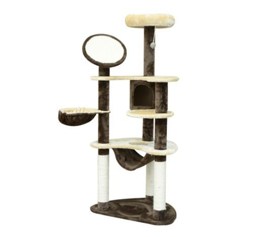 HOMCOM PawHut Scraper for Cats 153x65x50 cm Tree for Spider Pole Activities Center Cat Color Brown