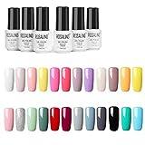ROSALIND 24PCS/Set esmaltes semipermanente color rojo gel barniz UV LED duradero Esmalte de gel de uñas,7ml ...
