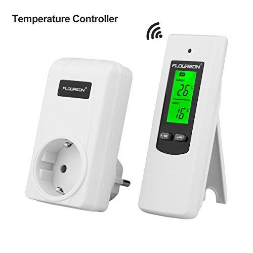 FLOUREON Termostato Conector inalámbrico Termostato Enchufe RF Termostato del radiador Calefacción Regulador de temperatura de refrigeración Controlador