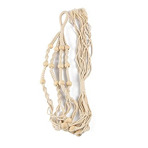 nouvelife Macramé Plant Hanger 105cm Solid Cotton Macramé Plant Holder with 4Legs Pearl Handmade Decoration for Indoor and Outdoor Use