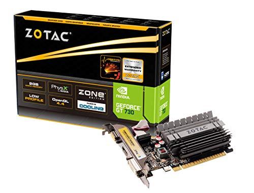 Zotac GeForce GT 730 Zone Grafikkarte (NVIDIA GT 730, 2GB DDR3, 64bit, Base-Takt 902 MHz, 1,6 GHz, DVI, HDMI, VGA, passiv gekühlt)