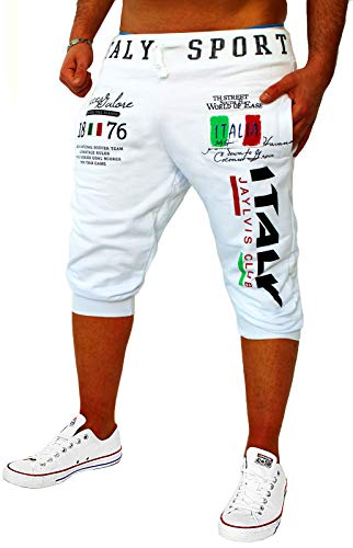 Herren Short Shorts Bermuda Kurze Hose Steetwear 3/4 Italien Italy Italia Stretch (RA8 B.3483) (M, Weiß)
