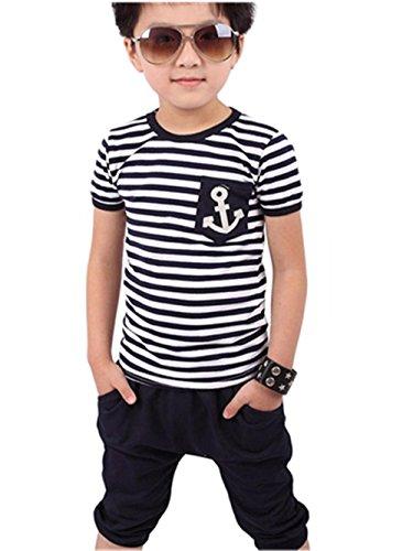 eleideung Sommer Kleidung T-shirt Kurze Hosen Kleidung Outfits Set Boy Kinder jungen Tops Hosen Bekleidungssets LMMVP (2Jahre-7Jahre) (Blau, 140) (Herren Kleid Anzug Set)