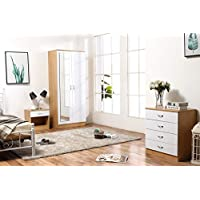 Mirrored High Gloss 3 Piece Bedroom Furniture Set - Soft Close Wardrobe, 4 Drawer Chest, Bedside Cabinet (White on Oak)