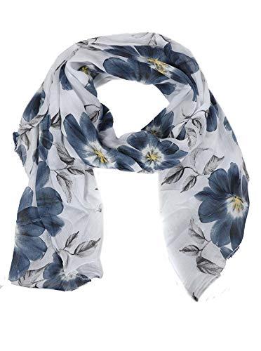Zwillingsherz Seiden-Tuch mit Blumen Motiv - Hochwertiger Schal für Damen Mädchen - Halstuch - Umschlagstuch - Loop - weicher Schlauchschal für Frühjahr Sommer Herbst und Winter - weiß (Schwarz Blumen Seide Weiß Und)