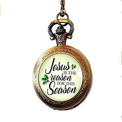 Halskette mit Weihnachts-Taschenuhr Jesus ist der Grund für die Jahreszeit, Vintage-inspiriert, religiöser Glaube, christliche Taschenuhr, Halskette, Urlaubsschmuck, Geschenkanhänger