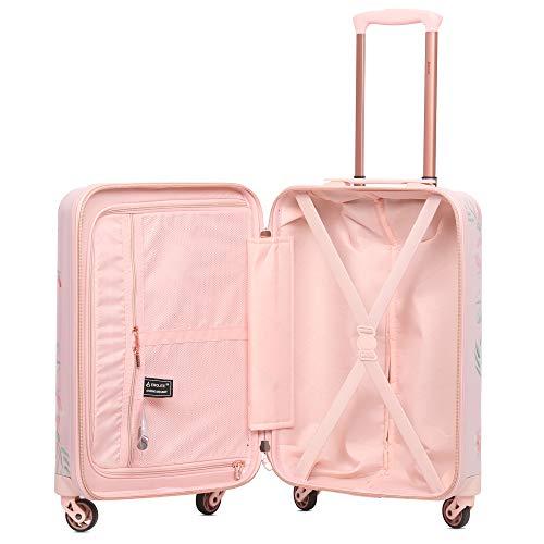 Aerolite Leichtgewicht Polykarbonat Hartschale 4 Rollen Gepäckset Reisegepäck Trolley Koffer, 3 teiliges Set, 55cm Handgepäck + 69cm + 79cm, Rosa Blumendesign - 4