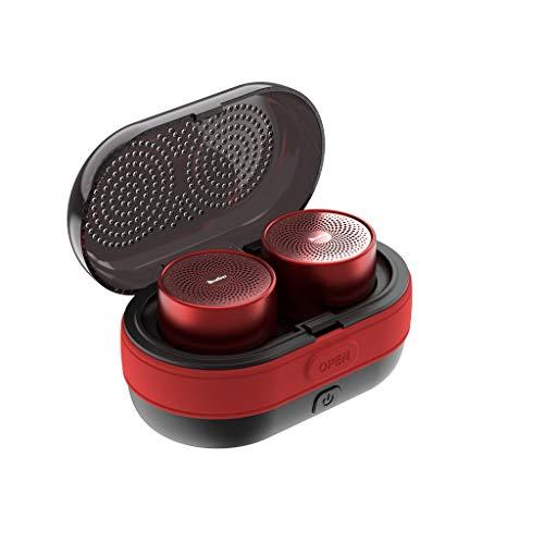 Haludock Super Mini Tragbare 10M Bluetooth Lautsprecher Magnetisch anschließbare Basis True Stereo Sound Bass TWS Stereo mit Ladefach (Surround-sound System Einheit)