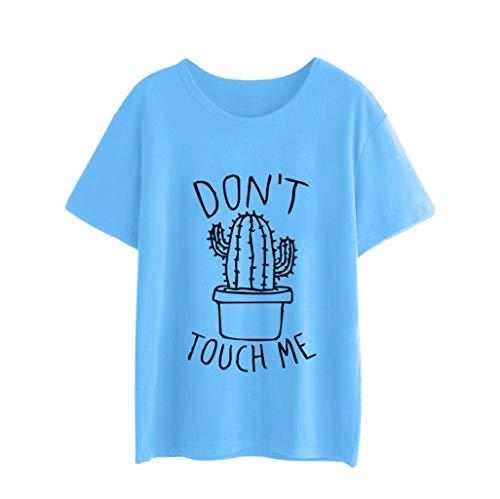 Oliviavan Damen Don't Touch me Sommertops Damenmode Tanktop Weißes Kaktus Druck T-Shirt Baumwoll Tops Baseball Oberteile Shirts Tank Top Basic t Shirt Coole Shirts Rotes