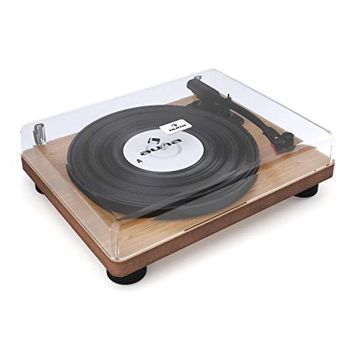 Auna TT-Classic WD • Platine Vinyle rétro • Plaqué Bois • 2 Haut-parleurs intégrés • Absorbe Les Chocs • USB - Plug & Play • Numérisation • Protection Anti-poussière • Brun