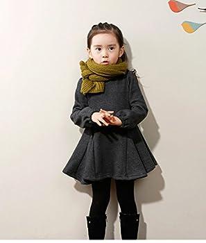 M-g-x Children 'S Clothing Autumn & Winter New Girls Cotton Thick Bow Peng Peng Dress Size 140cm (Gray) 2