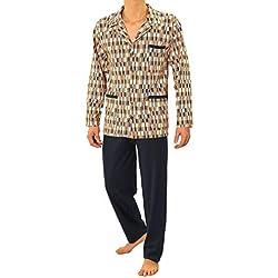 Sesto Senso® Pyjama Homme Boutonné Long Classique Coton 100% 2 Pièces Sommeil Et Les Vêtements PJ Set Manches Pantalon Longues (L, 03 Granat)