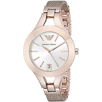 Emporio Armani Reloj de Cuarzo para Mujer con Plata Esfera analógica Pantalla y Oro Rosa Pulsera de Acero Inoxidable ar7400