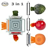 GuDoQi 2 Pacco Sbucciatore di Verdura Frutta 3 in 1 Pelaverdure Professionale Forma Quadrata Rotante Multifunzione con 3 Diverse Lame Attrezzo da Cucina