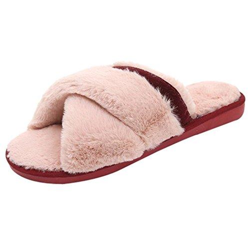 Dragon868 pantofole donna scarpe basse caldo con pelo incrociate inverno