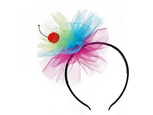 Haarreif, Haarband, Kopfbedeckung aus Tüll mit Kirsche bunt